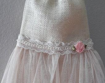 Rustic burlap dollar dance bag, money bag, ivory, pink  bridal,  wedding, boho, hippie, shabby chic