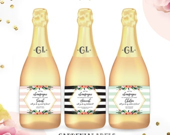 Pop The Champagne I'm Changing my Last Name Mini Champagne Labels, Will you be my bridesmaid, Bridesmaid Proposal Idea, Maid of Honor Ask