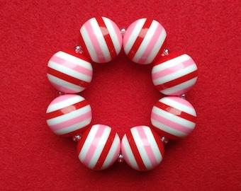 Red Pink Stripes Bracelet, Striped Bracelets Girls, Valentine Bracelet for Toddlers