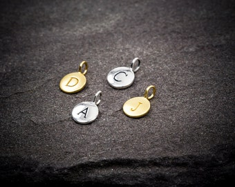 Add Initial Letter, One (1)  Initial, Personalized, Name, Sterling Silver, Circle Disc Charm,   Letter