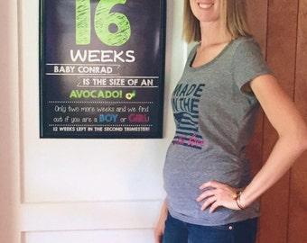 Printable Pregnancy Countdown Chalkboard Photo Props | Weekly Series | Weeks 8-40 | 33 Files | *Digital Files* | by MMasonDesigns