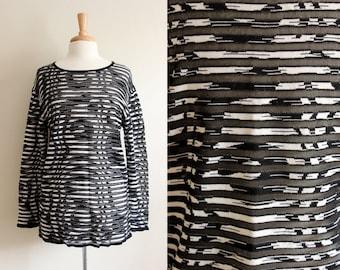 Vintage 1980s Sheer Black & White Stripe Escada Top