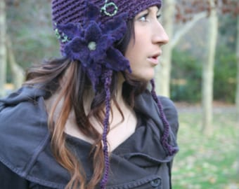 Secret Garden Felted Flower Hat- Violet, Purple, Grape- All Wool Bohemian Hat