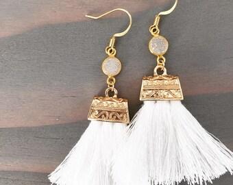 Gold Bezeled Druzy Crystal & White Tassel Earrings