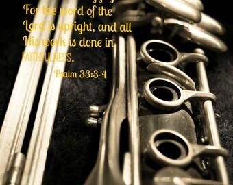 Christian wall art, Psalm 33 Bible verse, musical photograph ,clarinet