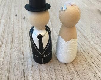 Bridal Couple Peg Doll Dolls