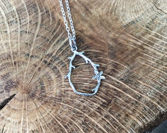 Sterling silver twig and flower necklace, tiny flower pendant, flower necklace
