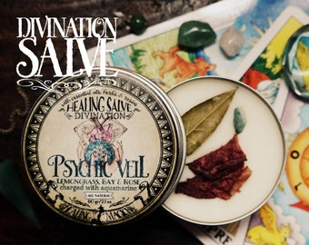 Divination Anointing Balm *Psychic Veil* with Essential Oils, Herbs and Crystals - Lemongrass, Bay, Rose & Aquamarine (2.1oz)