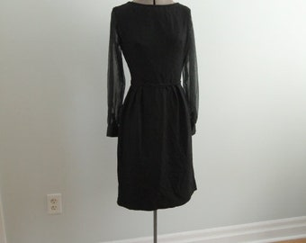 Late 1960's Black Dress with Sheer Sleeves