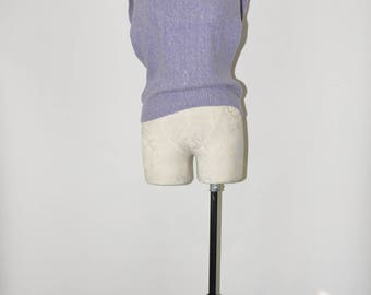 70s lavender knit top / 1970s sleeveless sweater / silk angora pullover vest