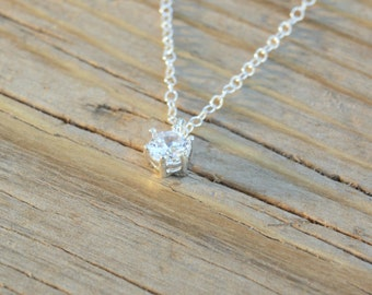 cz necklace,wedding necklace,dainty necklace,solitaire necklace,delicate necklace,gift for her,bridesmaid gift,wedding jewelry- 21199
