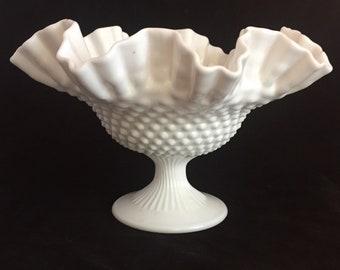 Hobnail Milk Glass Ruffled Bowl, Pedestal Compote, Crimped Glass Bowl, Wedding Decor