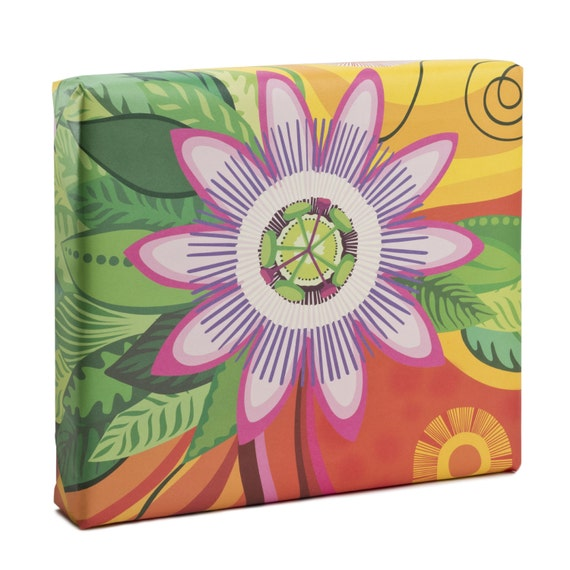 PASSIFLORA. Floral wrapping paper. Botanical art print. Vibrant colors. Passiflora. Creative packaging. For art lovers. For flower lovers.