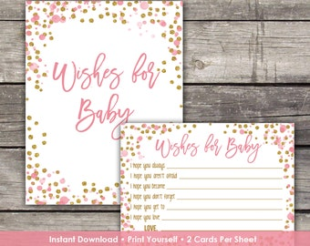 Pink and Gold Wishes for Baby Cards - Baby Wishes - Pink and Gold Glitter - Girl Baby Shower Game Baby-244