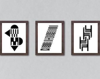 Art print set, set of 3 prints, set of prints, set of 3, abstract art, set, wall decor, set, black and white print, minimalist art, print