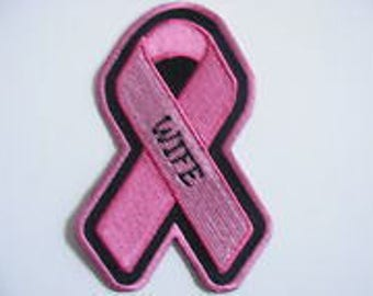 Pink Ribbon Breast Cancer Awareness Patch  WIFE