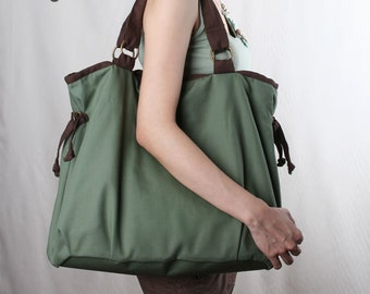 Ringopie Everyday Canvas Tote in green/laptop/shoulder/diaper/purse/school/bags/handbags/totes/women/For Her-048