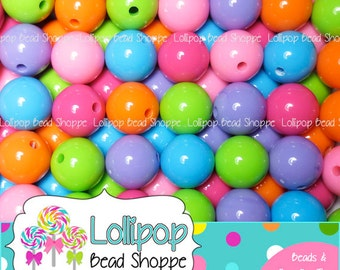 GUMBALL Beads 16mm Chunky Beads Solid Acrylic Gum Ball Beads Round Plastic Bubblegum Beads Mixed Bubble Gum Bead Necklaces & Bracelets