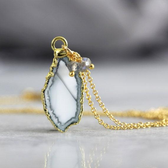 White Geode Necklace - Geode, Gemstone & Diamond Pendant