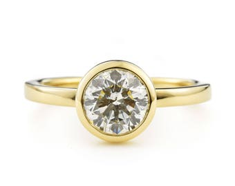 1 ct Moissanite Engagement Ring, 14K Gold Round Bezel Engagement Ring, Bezel with Open Sides, Also available in 14K white and 14K rose gold