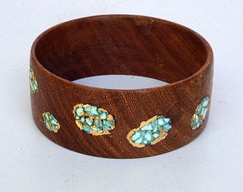 Wood Bracelet-Bangle with Turquoise and Gold Leaf (2)