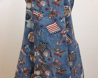 Retro 1920-1930's apron in a patriotic print
