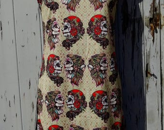 Gypsy Skull Dress - Size 8 10 12 - Bodycon Wiggle Tattoo Candy Skeleton Sugar