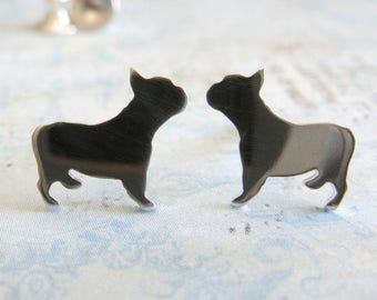 Frenchie stud earrings. French bulldog silhouette jewelry. Sterling silver, 14k gold filled or solid yellow gold studs. Bull Dog lover.