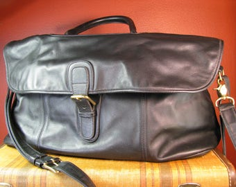 Vintage Coach black leather weekender, Carry on, luggage