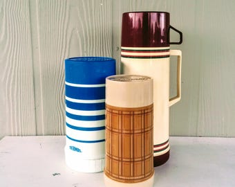 Vintage Alladin Thermos Set Red Blue Plaid Thermos Camping Lodge Decor
