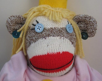 Princess Peach sock monkey MADE TO ORDER