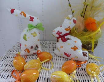 Bunnies Easter decoration or toy - green and Red Ribbon