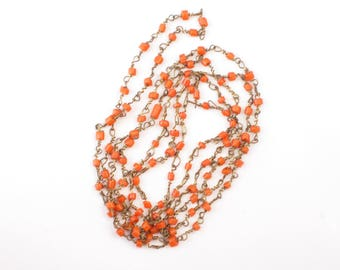 Vintage Art Deco flapper necklace, wired bead necklace, orange beaded necklace, vintage jewellery, 39 inches