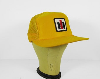 Vintage Trucker Hat International Harvester 1970s Snapback Yellow NOS Cap