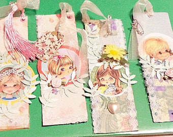 Pastel or Red \\little girl \\image Bookmark\\ handmade\\ decorative embellished\\eyelet For Ages 12-up NEW
