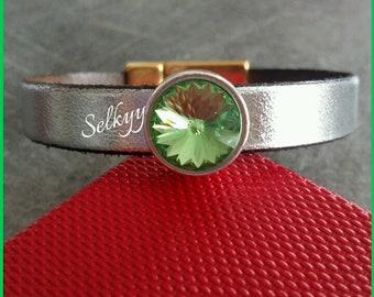 "Leather Bracelet silver and peridot green Swarovski Crystal ""Peridot"" Rivoli cabochon"