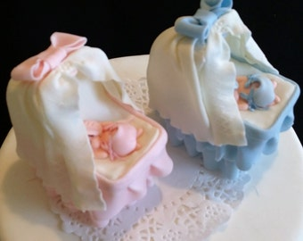 Baby Shower Cakes Decorations ~ Baby shower cake topper baby on a bassinet baby shower