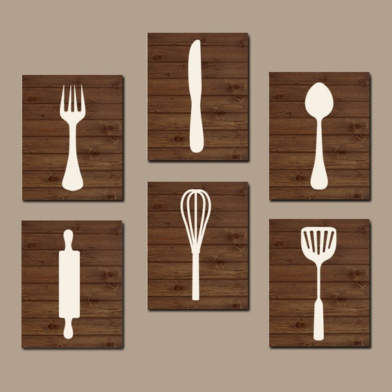 Lovely KITCHEN Utensils Wall Art Fork Knife Spoon CANVAS Or Prints