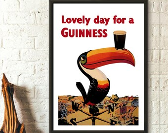 Vintage Guinness Print - Beer Poster Guinness Poster Retro Kitchen Decor Beer Prints Birthday Gift Idea
