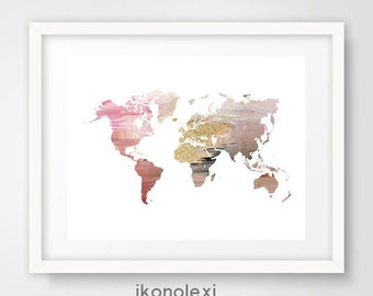 Pink world map print, world map, wall prints, world map nursery, world map poster, gold world map, world map print, home decor, ikonolexi