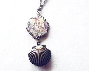 Mermaid Locket Necklace Sea Shell Jewelry Seashell Pendant Nautical Charm Beach Accessories Ariel Fairytale Fairy Tale Womens Gift For Her