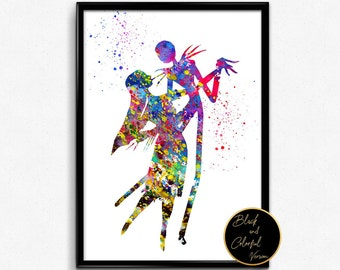 The Nightmare Before Christmas inspired, Jack and Sally,Watercolor, Poster, gift, print, wall art (255)
