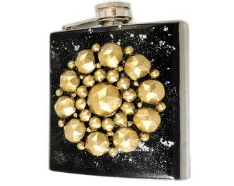 Faceted Medallion Geometric Flask Inlaid in Hand Painted Enamel Black with Silver Splash Design Custom Colors and Personalized Options