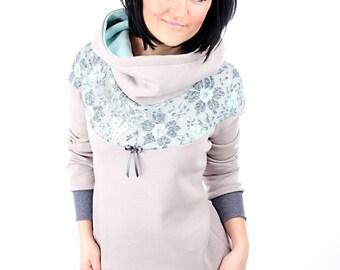 "Taupe women's long sleeve lace dress MEKO ""Flory"""