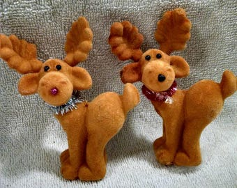 Pair Flocked Christmas Deer Ornaments