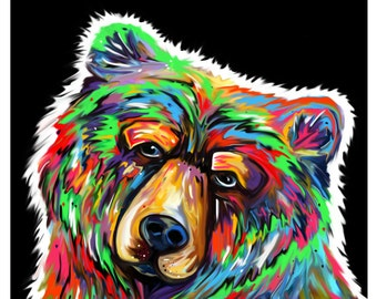 The Night Grizzly (Bear Print); Bright, Colorful Art from Missoula, Montana. Room Decor for Wildlife & Animal Lovers. Perfect Gift Idea!