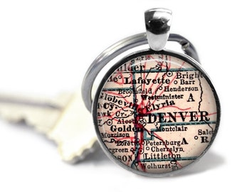Denver Colorado Keychain, Colorado Map Keychains, Gift for Him, Dad Gift, Daddy Gift, Personalized Gift, Mens Keychain, Dad's Gift, A164