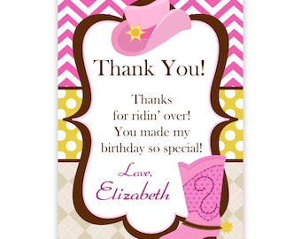 Cowgirl Thank You Card - Pink Chevron, Argyle, Polka Dot Cowgirl Hat n Boot Personalized Birthday Party Thank You - a Digital Printable File