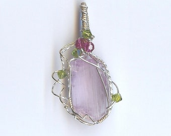 4155 Kunzite and Swarovski Crystals Pendant, Devotion and Understanding