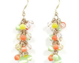 Cats Eye and Swarovski Crystal Dangle Earrings